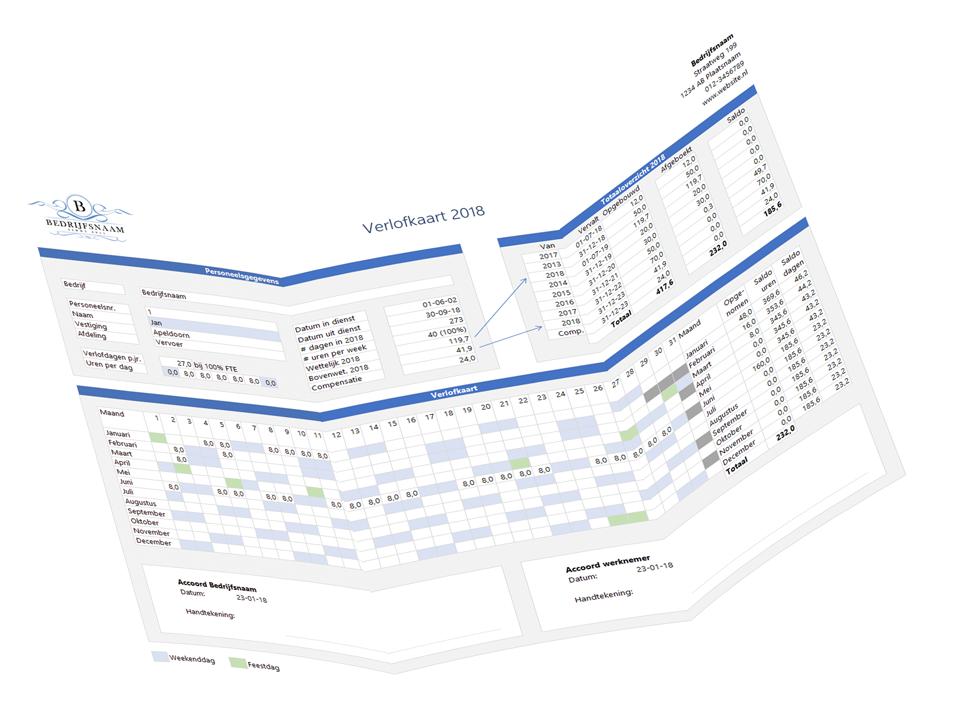 Verlofkaart in Excel Voorbeeld