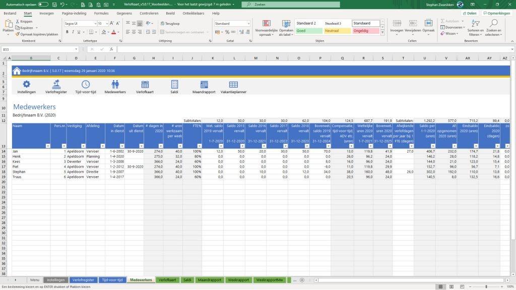 Verlofkaart in Excel stap 2