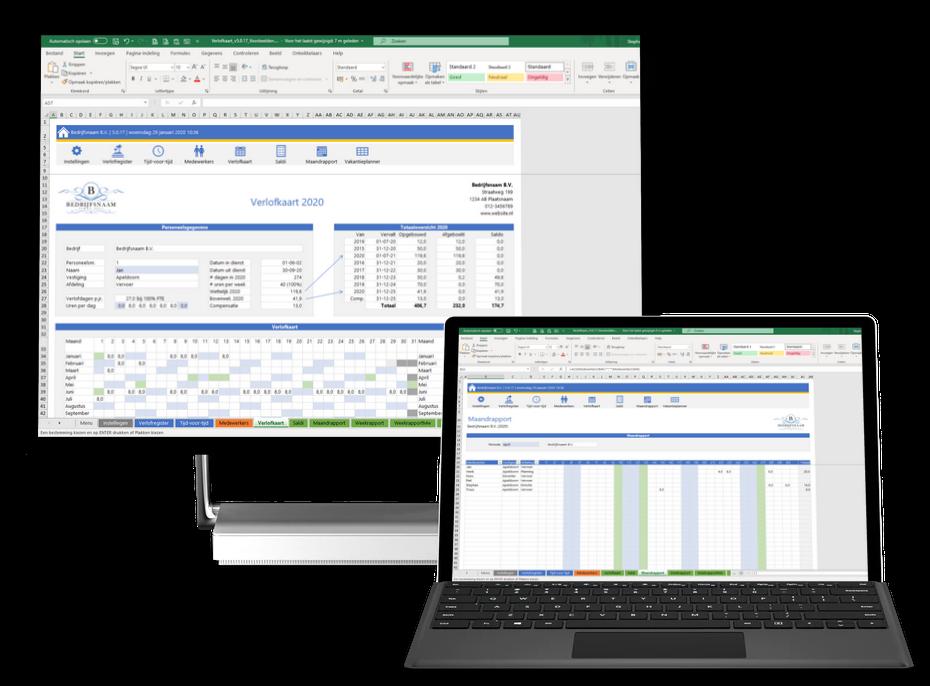 Verlofkaart in Excel