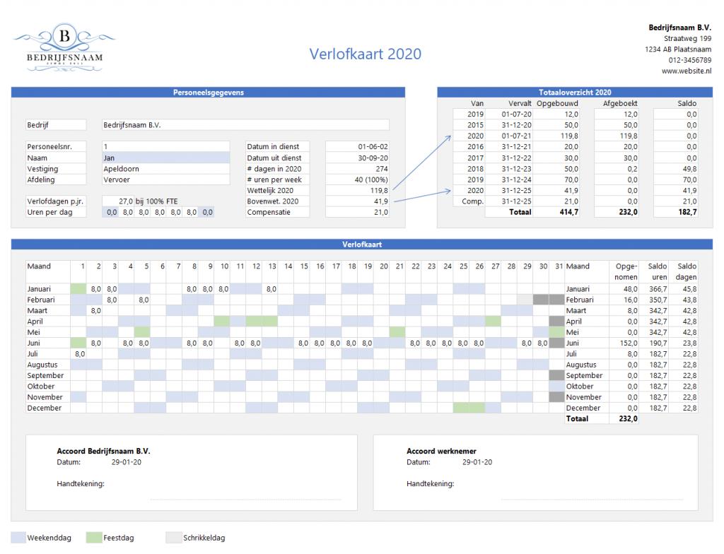 Verlofkaart in Excel stap 4